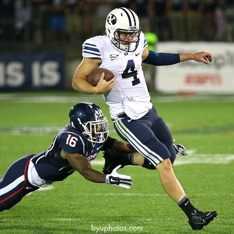 Hill, Taysom MAP28345<br /> <br /> BYU Football at UConn<br /> <br /> August 29, 2014<br /> <br /> Photo by Mark A. Philbrick/BYU<br /> <br /> &copy; BYU PHOTO 2014<br /> All Rights Reserved<br /> photo@byu.edu  (801)422-7322
