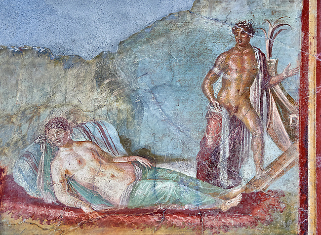 Roman fresco wall painting of Ariadne fast asleep on a bed of seaweed does not realise that Theseus is about to abandon her and sailaway on a ship to Athens, Pompeii House of colored Capitals, VII,31-51, inv 9052 , Naples National Archaeological Museum