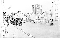 Sketch by Major Chris Miers, the British Army's official war artist, made whilst serving in Belfast, during the N Ireland Troubles. Major Miers is serving with the Royal Green Jackets. 197211200731d.<br />