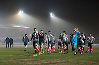 Grimsby players clap the travelling supporters at full time of the Sky Bet League 2 match between Newport County and Grimsby Town at Rodney Parade, Newport, Wales on 14 February 2017. Photo by Mark  Hawkins / PRiME Media Images.