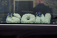 Pictured: Flowers for Josh Gardener at his funeral at St Katharine & St Peter's Church in Milford Haven, Wales, UK. <br /> Re: The funeral for a Welsh firefighter who died during a training exercise will be held today in St Katharine & St Peter's Church in Milford Haven, Wales, UK. <br /> Josh Gardener, 35, died when two boats collided in Neyland, the Cleddau Estuary in Pembrokeshire on 17 September. The father-of-two had joined the Mid and West Wales Fire and Rescue Service in November last year.