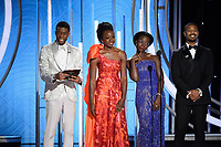 Chadwick Boseman, Danai Gurira, Lupita Nyong'o and Michael B. Jordan present at the 76th Annual Golden Globe Awards at the Beverly Hilton in Beverly Hills, CA on Sunday, January 6, 2019.<br /> *Editorial Use Only*<br /> CAP/PLF/HFPA<br /> Image supplied by Capital Pictures