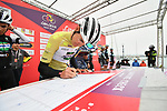 Isaac Canton Serrano (ESP) Kometa Cycling Team wearing the mountains Maglia Verde Pistacchio at sign on before the start of Stage 2 of Il Giro di Sicilia running 236km from Capo d'Orlando to Palermo, Italy. 4th April 2019.<br /> Picture: LaPresse/Massimo Paolone | Cyclefile<br /> <br /> <br /> All photos usage must carry mandatory copyright credit (© Cyclefile | LaPresse/Massimo Paolone)