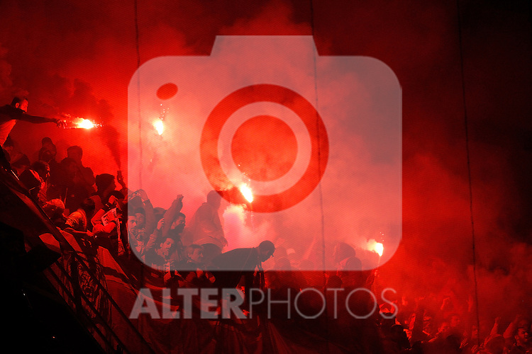 Galatasaray's fans light flares during UEFA Champions League match. April 03, 2013. (ALTERPHOTOS/Alvaro Hernandez)
