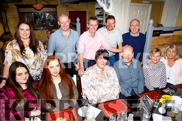 Mike Kenny, Ballyheigue  celebrates his 50th Birthday with family at the Brogue Inn on Saturday Pictured front l-r Leanne O'Connor, Lorraine Kenny, Bridie Kenny, Mike Kenny, Eileen Stack, Helen Mansell, Back l-r Niamh Foley, Gene Stack, Pat Barry, Kevin Madden, Paudie Casey