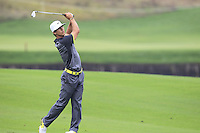 Thobjorn Olesen (DEN) plays his 2nd shot on the 11th hole during Friday's Round 2 of the 2014 BMW Masters held at Lake Malaren, Shanghai, China 31st October 2014.<br /> Picture: Eoin Clarke www.golffile.ie