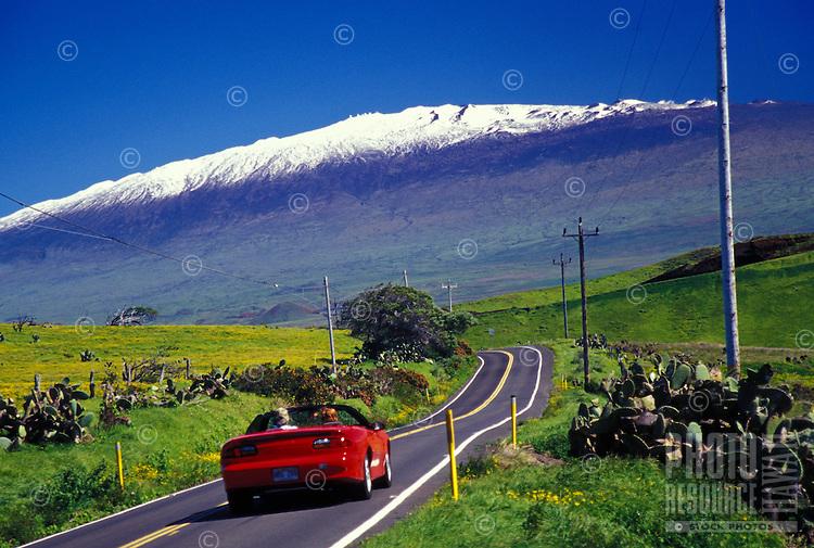 Waimea, Mountain Road #250 with snow peaked Mauna Kea in background