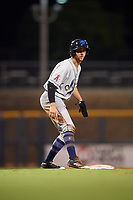 Mobile BayBears left fielder Bo Way (3) leads off third base during a game against the Mississippi Braves on May 7, 2018 at Trustmark Park in Pearl, Mississippi.  Mobile defeated Mississippi 5-0.  (Mike Janes/Four Seam Images)