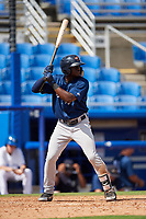 Lakeland Flying Tigers center fielder Daz Cameron (25) at bat during a game against the Dunedin Blue Jays on May 27, 2018 at Dunedin Stadium in Dunedin, Florida.  Lakeland defeated Dunedin 2-1.  (Mike Janes/Four Seam Images)