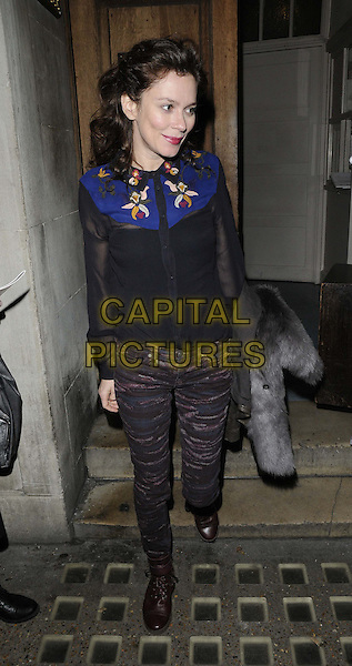 Anna Friel.departed after the evening performance of 'Uncle Vanya', Vaudeville Theatre, The Strand, London, England, UK,.20th December 2012..full length sheer black cowboy western shirt blue jeans  patterned boots fur coat grey gray holding .CAP/CAN.©Can Nguyen/Capital Pictures.