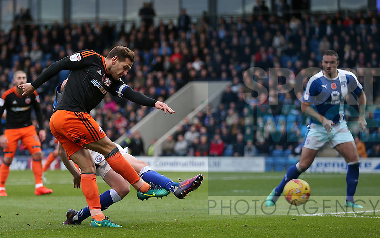 Billy Sharp of Sheffield Utd shoots during the English League One match at the Proact Stadium, Chesterfield. Picture date: November 13th, 2016. Pic Simon Bellis/Sportimage
