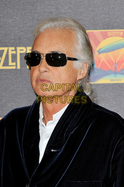 Jimmy Page .Attending the Led Zeppelin 'Celebration Day' UK premiere, Hammersmith Apollo, London, England. 12th October 2012..portrait headshot blue navy velvet jacket sunglasses white shirt  .CAP/MAR.© Martin Harris/Capital Pictures.