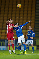 24th November 2019; McDairmid Park, Perth, Perth and Kinross, Scotland; Scottish Premiership Football, St Johnstone versus Aberdeen; Andrew Considine of Aberdeen competes in the air with Drey Wright of St Johnstone  - Editorial Use