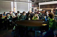NWA Democrat-Gazette/CHARLIE KAIJO Local high school students prepare for presentations, Thursday, March 15, 2018 at The Record in Bentonville. <br /> <br /> The nonprofit TeenDevConf in NWA gives grants to teens interested in learning about new technology. Its goal is to benefit &ldquo;hatchling hackers&rdquo; so they can use their powers for good.<br /> <br /> Julian Sanker, a teen, started a fundraising campaign with a goal of funding enough for 15 students to attend a developer&rsquo;s conference for free. He&rsquo;s now raised enough for more than 25 students to attend. The Nowhere Developers Conference hosted speakers from Walmart, Google, MailChimp, among others.