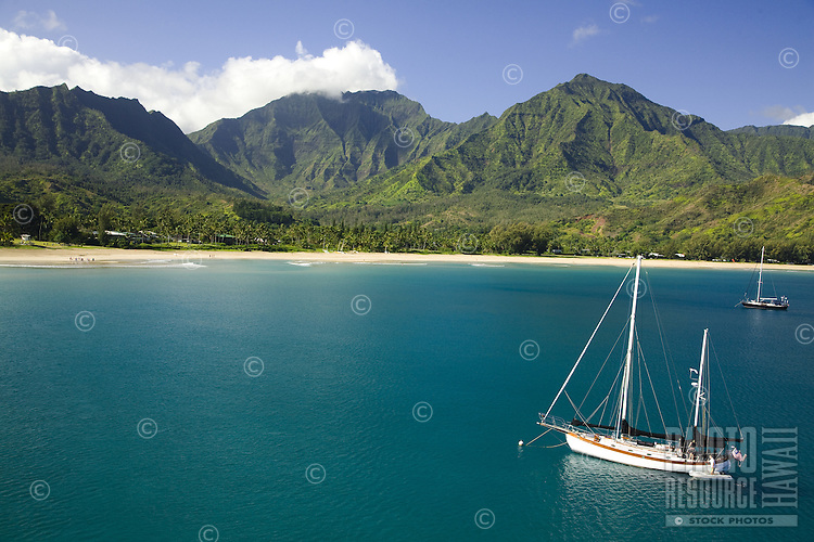 Sailboat in beautiful Hanalei Bay, Kauai