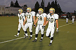 Beverly Hills, CA 09/23/11 - Tommy Webster (Peninsula #49), Arthur Fischer (Peninsula #67), Joey Augello (Peninsula #58) and Jin Matsumoto (Peninsula #40) in action during the Peninsula-Beverly Hills Varsity football game.