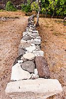 Restored ancient Hawaiian stone wall in  Nualolo Kai village, Na Pali coast, Kauai