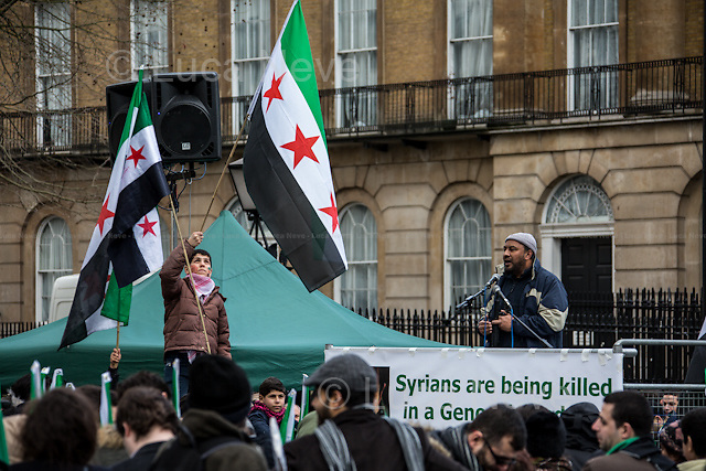 London, 16/03/2013. To mark the second anniversary of the Syrian Revolution, a rally was held outside 10 Downing Street. Previously, hundreds of people had marched in protest against the regime of President Bashar al-Assad, from the Syrian embassy in Belgrave Square to Whitehall, in support and solidarity with the Syrian people.