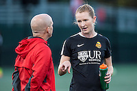 Allston, MA - Saturday Sept. 24, 2016: Paul Riley, Samantha Mewis<br />  prior to a regular season National Women&rsquo;s Soccer League (NWSL) match between the Boston Breakers and the Western New York Flash at Jordan Field.