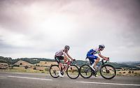 Rémi Cavagna (FRA/Deceuninck - QuickStep) & Soren Kragh Andersen (NOR/Sunweb) try to break away from the bunch in the race finally<br /> <br /> Stage 1: Clermont-Ferrand to Saint-Christo-en-Jarez (218km)<br /> 72st Critérium du Dauphiné 2020 (2.UWT)<br /> <br /> ©kramon