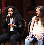 """Jennie Harney and Eliza Ohman from the 'Hamilton' cast during a Q & A before The Rockefeller Foundation and The Gilder Lehrman Institute of American History sponsored High School student #EduHam matinee performance of """"Hamilton"""" at the Richard Rodgers Theatre on June 6, 2018 in New York City."""