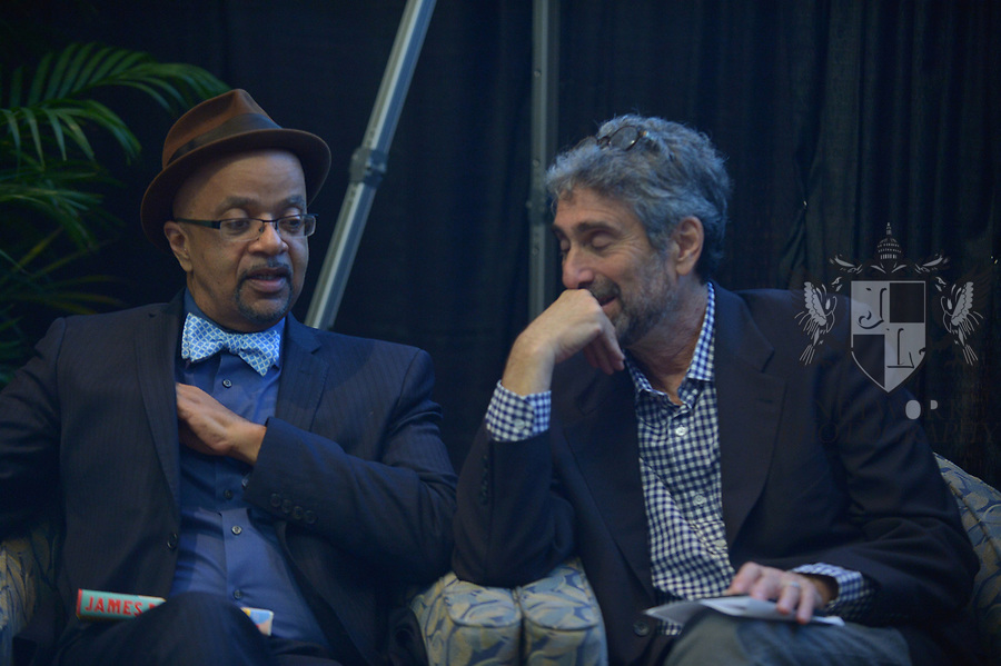 MIAMI, FL - NOVEMBER 16: Musician/author James McBride and Mitchell Kaplan attend The Miami Book Fair at Miami Dade College Wolfson - Chapman Conference Center on November 16, 2017 in Miami, Florida. ( Photo by Johnny Louis / jlnphotography.com )