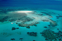 Aerial scene of Great Barrier Reef near Cairns Queensland Australia