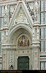 19th c facade Main Portal Pillars Lunette Tympanum Sculptures Reliefs Mosaic Santa Maria del Fiore Florence
