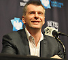 Mikhail Prokhorov, owner of the Brooklyn Nets, smiles during a news conference regarding the organization's search for a new coach and general manager at Barclays Center on Monday, Jan. 11, 2016.