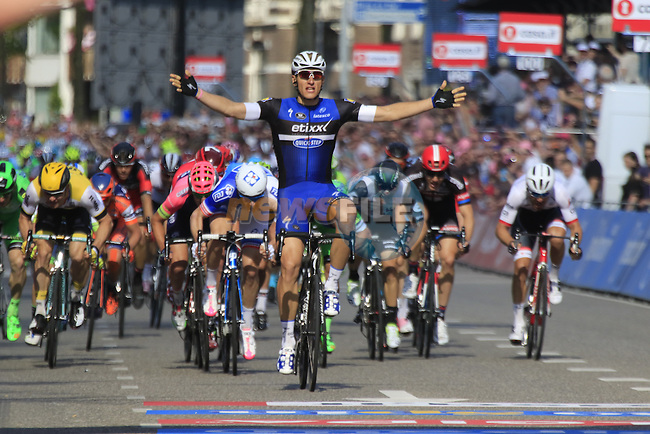 Marcel Kittel (GER) Etixx-Quick Step outsprints the bunch to win Stage 2 of the 2016 Giro d'Italia running 190km from Arnhem to Nijmegen, The Nethrerlands. 7th May 2016.<br /> Picture: Eoin Clarke | Newsfile<br /> <br /> <br /> All photos usage must carry mandatory copyright credit (&copy; Newsfile | Eoin Clarke)