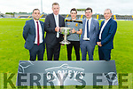Brian Looney of Dr Crokes current holders of the Bishop Moynihan Cup at the launch of the Garvey Senior Football Championship on Monday. <br /> l to r: Seamus O'Connor (Garveys), Tim Murphy (Chairman Kerry GAA), Brian Looney (Dr Crokes), Jim Garvey and Kevin McCarthy of  Garveys.