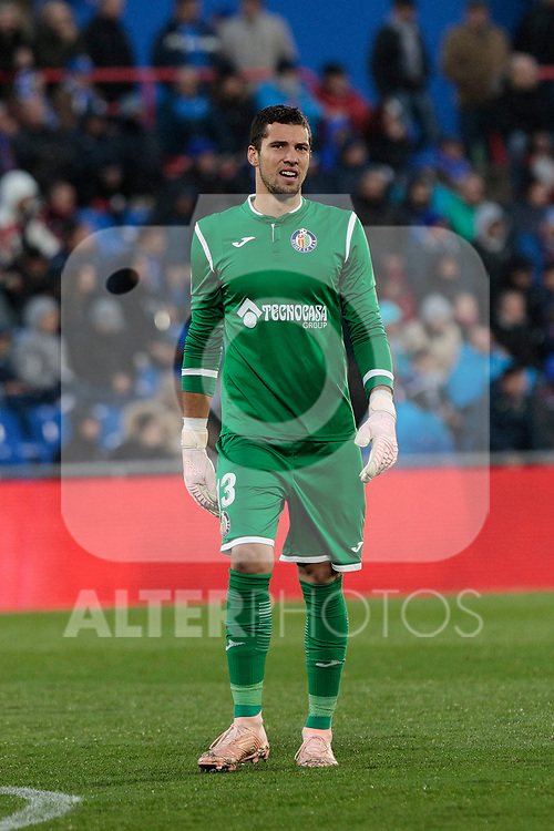 Getafe CF's David Soria during La Liga match between Getafe CF and Valencia CF at Coliseum Alfonso Perez in Getafe, Spain. November 10, 2018.