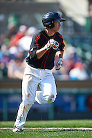 Rochester Red Wings shortstop Doug Bernier (17) runs to first during a game against the Norfolk Tides on May 3, 2015 at Frontier Field in Rochester, New York.  Rochester defeated Norfolk 7-3.  (Mike Janes/Four Seam Images)
