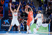 Real Madrid's Felipe Reyes and Jeffery Taylor and Valencia Basket's Antoine Diot during Quarter Finals match of 2017 King's Cup at Fernando Buesa Arena in Vitoria, Spain. February 19, 2017. (ALTERPHOTOS/BorjaB.Hojas)