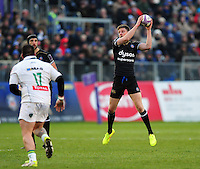Rhys Priestland of Bath Rugby receives the ball. European Rugby Challenge Cup match, between Bath Rugby and Pau (Section Paloise) on January 21, 2017 at the Recreation Ground in Bath, England. Photo by: Patrick Khachfe / Onside Images