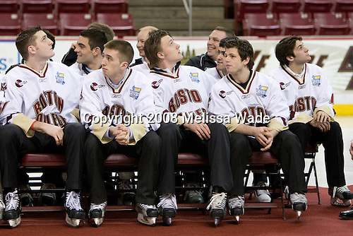 Andrew Orpik (BC 27), (Petrecki), Tim Kunes (BC 6), (Hegarty), Tim Filangieri (BC 5), (DeRosa, Margolin), Nate Gerbe (BC 9), (Gibbons) - The Boston College Eagles celebrated their NCAA D-1 National Championship with their fans at Kelley Rink in Conte Forum in Chestnut Hill, Massachusetts on Monday, April 14, 2008.  The Eagles conducted an autograph session, followed by an on-ice ceremony and more autographs.