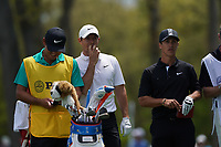 Rory McIlroy (NIR) and Thorbjorn Olesen (DEN) on the 12th tee during the 3rd round at the PGA Championship 2019, Beth Page Black, New York, USA. 18/05/2019.<br /> Picture Fran Caffrey / Golffile.ie<br /> <br /> All photo usage must carry mandatory copyright credit (© Golffile | Fran Caffrey)