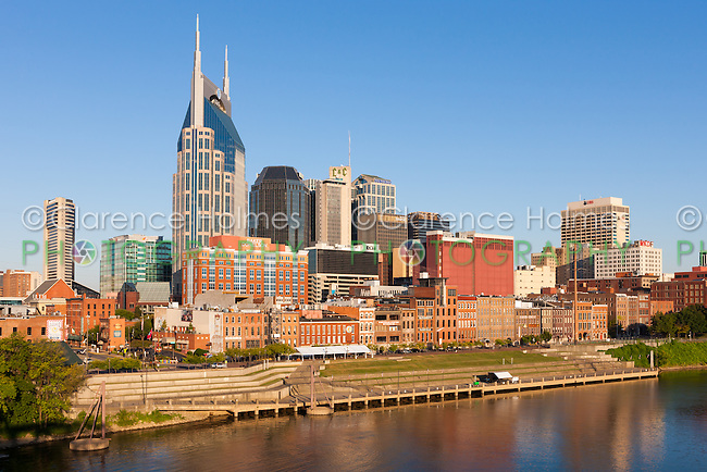 An early morning view of the skyline of Nashville, Tennessee.