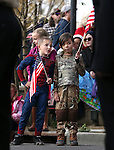 Blake Carter, left, and Charlie Godard, both 8, check out the Carson High School Naval JROTC entry in the annual Nevada Day parade in Carson City, Nev. on Saturday, Oct. 29, 2016. <br />