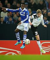 FUSSBALL   EUROPA LEAGUE   SAISON 2011/2012  SECHZEHNTELFINALE FC Schalke 04 - FC Viktoria Pilsen                          23.02.2012 Chinedu Obasi (li, Schalke) gegen Vaclav Prochazka (re, Pilsen)