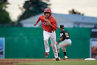 Batavia Muckdogs second baseman Gerardo Nunez (1) runs the bases during a game against the West Virginia Black Bears on June 19, 2018 at Dwyer Stadium in Batavia, New York.  West Virginia defeated Batavia 7-6.  (Mike Janes/Four Seam Images)
