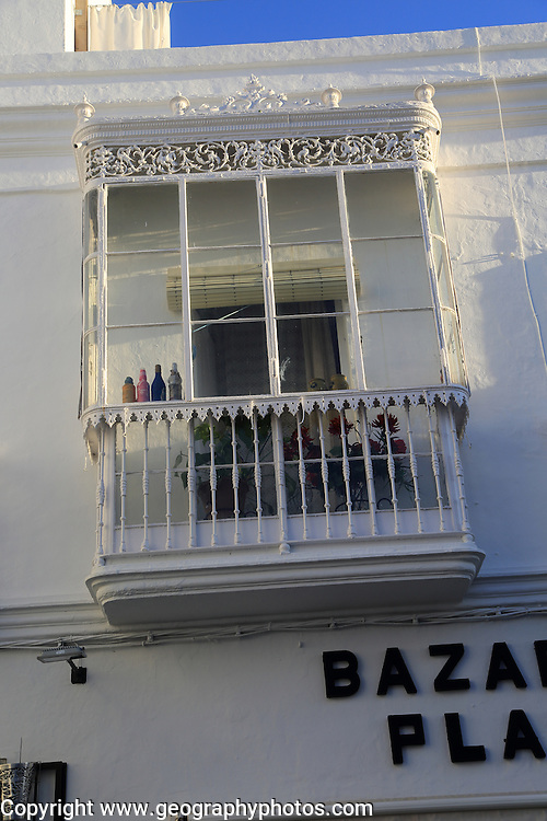 Balcony of traditional whitewashed buildings in Vejer de la Frontera, Cadiz Province, Spain