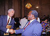 United States Senator John Danforth (Republican of Missouri), left, welcomes Judge Clarence Thomas to Capitol Hill prior to the hearing before the US Senate Judiciary Committee to confirm him as Associate Justice of the US Supreme Court in the US Senate Caucus Room in Washington, DC on September 10, 1991.  Thomas was nominated for the position by US President George H.W. Bush on July 1, 1991 to replace retiring Justice Thurgood Marshall.<br /> Credit: Arnie Sachs / CNP