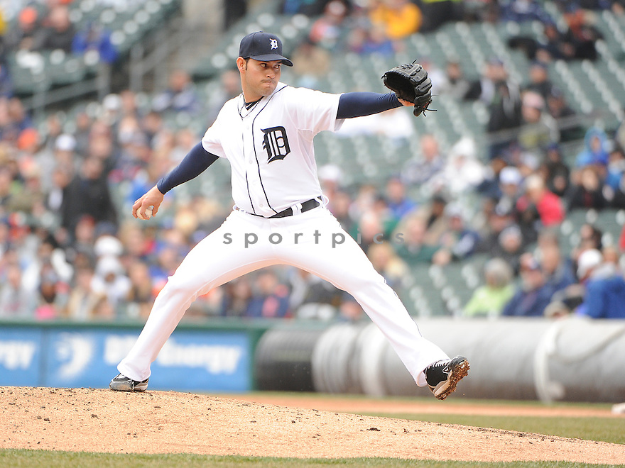 Detroit Tigers Anibal Sanchez (19) during a game against the Toronto Blue Jays on April 9, 2013 at Comerica Park in Detroit, MI. The Tigers beat the Blue Jays 7-3.