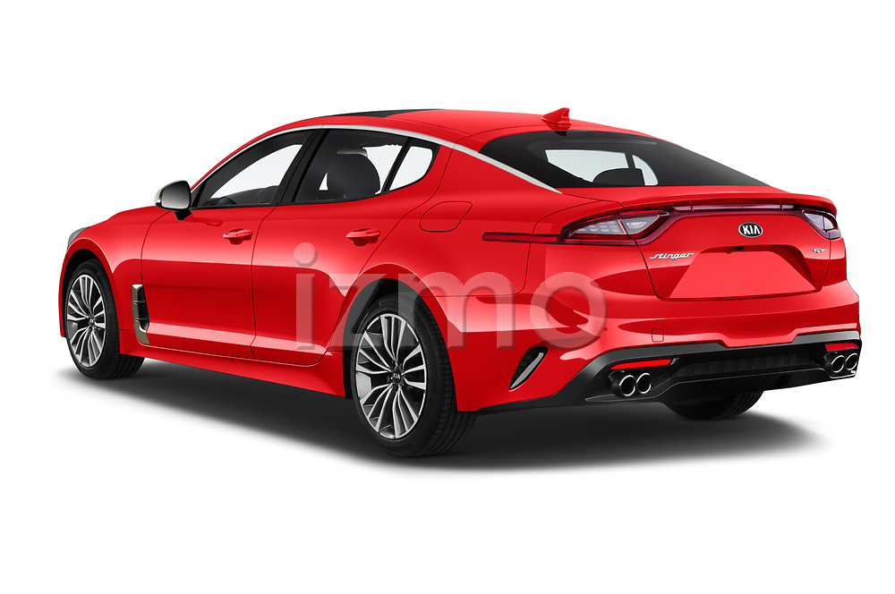 Car pictures of rear three quarter view of a 2018 KIA Stinger GT 5 Door Hatchback angular rear