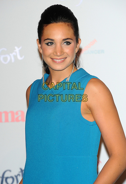 Laura Wright.Prima High Street Fashion Awards, Battersea Evolutions, Battersea Park, London, England..September 8th, 2011.half length blue sleeveless dress  .CAP/CJ.©Chris Joseph/Capital Pictures.