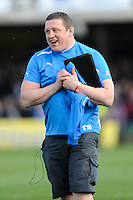 Toby Booth, Bath Rugby First Team Coach, is delighted after winning the Aviva Premiership match between Bath Rugby and Leicester Tigers at The Recreation Ground on Saturday 20th April 2013 (Photo by Rob Munro)