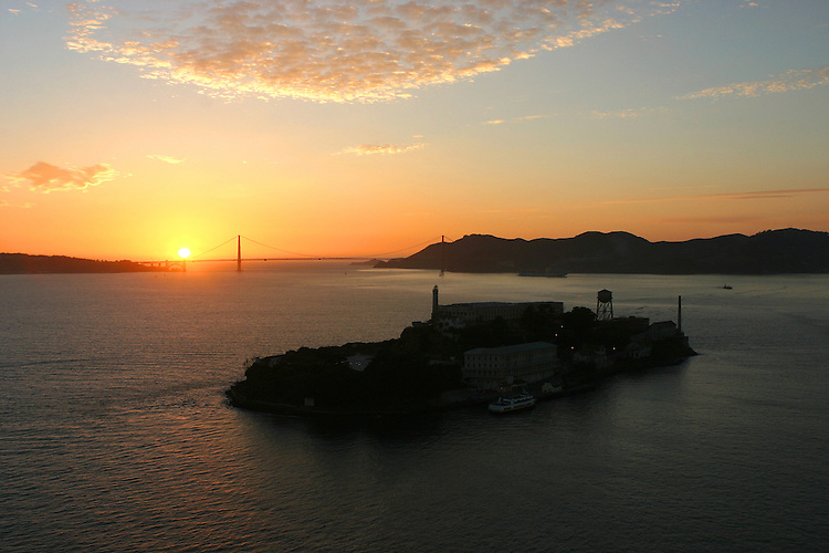 October 29, 2005; San Francisco, CA, USA; Aerial view of Alcatraz Island and the Golden Gate National Recreation Area in San Francisco Bay at sunset. Photo by: Phillip Carter