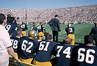 GPHR 24/03:  Football Game Scene - Notre Dame vs. Southern California (USC), 1963/1012.  Players on the sidelines.  Image from the University of Notre Dame Archives.