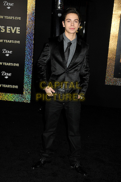 "Jake T. Austin.The World Premiere of ""New Year's Eve' held at The Grauman's Chinese Theatre in Hollywood, California, USA..December 5th, 2011.full length black suit grey gray shirt.CAP/ADM/BP.©Byron Purvis/AdMedia/Capital Pictures."